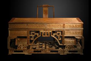 浮雕荷花写字台